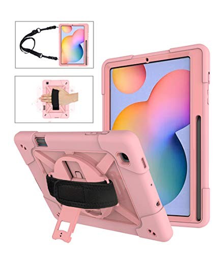 Neecio Funda para Samsung Galaxy Tab S6 Lite 10.4 (P610 / P615) 2020 Tablet, Prueba de Golpes Funda con Soporte Rotación, Correa de Mano/Hombr para Galaxy Tab S6 Lite 10.4 Pulgadas (Rose Gold)