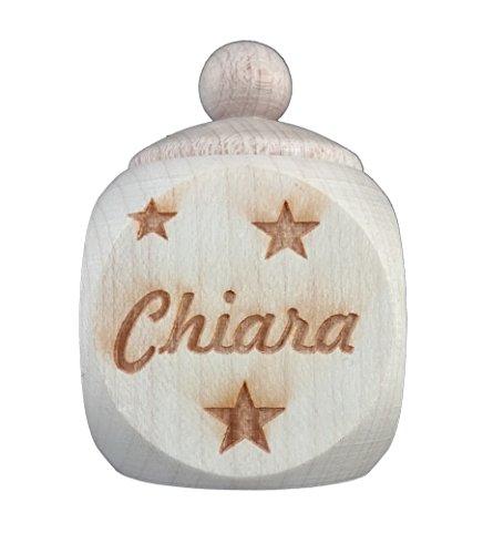 Milchzahn Zahndose für Baby Holz-Dose aus Holz mit Deckel Milchzahndose mit Namen Milchzahndöschen als Geschenk zur Geburt