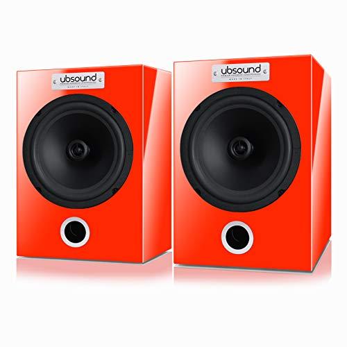 UBSOUND FEEL FL32 – Par de altavoces Bass Reflex pasivos, hechos a mano, 100 W, 2 vías, 8 Ohm, para estantería o soporte de pie, Made in Italy, Rojo Sport