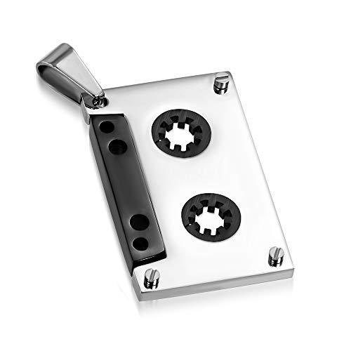 BlackAmazement 316L Edelstahl Anhänger Halskette Audio Kasette Tape Video Silber schwarz Punk Herren Damen (Anhänger mit Kette)