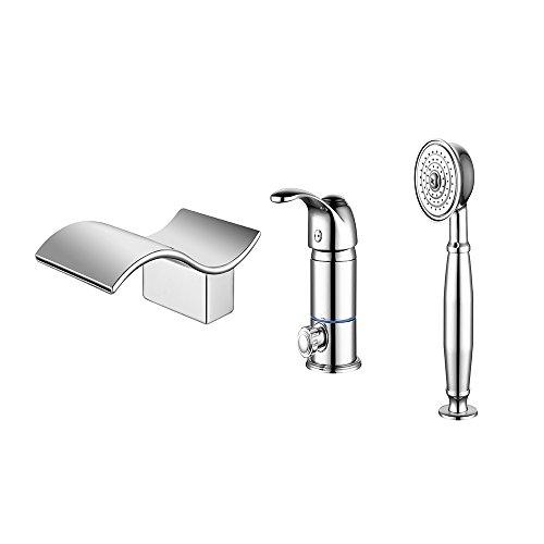 iBalody - Grifo Mezclador de Agua Caliente y fría para Lavabo con Cascada iluminada de Tres Agujeros, válvula de Mezcla de Cobre con Ducha de Mano extraíble