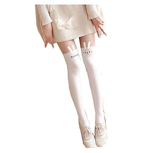 ToBe-U Kawaii Medias Gato Medias Pantyhose Cartoon Bunny Calcetines Mujeres Niñas Lindo Animal Mock Rodilla Desnudo Alto Muslo Tatuaje Modelado Calcetería Polainas Tatuaje Legging Medias
