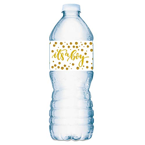 Review Of 20 Gold It's a Boy Oh Baby Water Bottle Labels; Baby Shower Set of 20 Waterproof Water B...