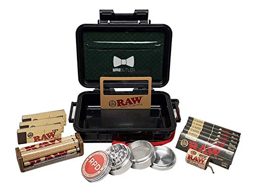 RAW Black Rolling Papers 1 1/4 (6 Packs), Tips (3 Packs), Roller, Hemp Wick, Magnifier Card with RPD Grinder, Hippie Butler Airtight Carrying Case and Smell Proof Pouch - Bundle - 15 Items
