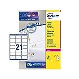 Avery L7160 - Etichette autoadesive per indirizzi / mailing (etichette per codici a barre ...