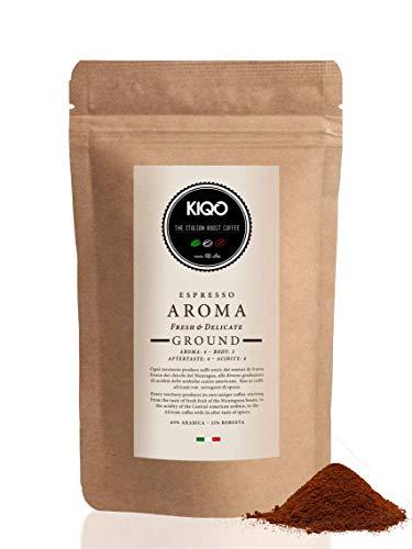 KIQO Aroma 500g Espresso gemahlen aus Italien | in schonenden Kleinstchargen geröstet | säurearm | 65% Arabica & 35% Robusta Bohnen (500g - gemahlen)