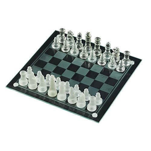 MKVRS Ajedrez Juego de ajedrez de Cristal Tablero de ajedrez de Vidrio...
