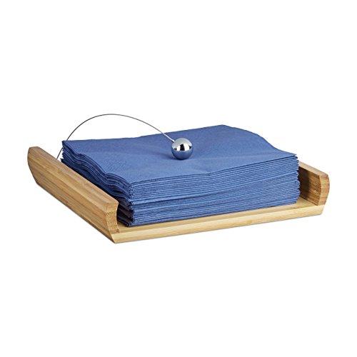 Relaxdays Servilletero de Mesa con Peso, Madera de Bambú, Marrón, 3,7 x 21,7 x 21,7 cm