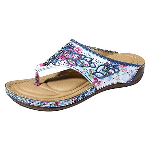 Review Of Toimothcn Vintage Flip Flops Flower Embroidery Causal Wedges Slides Women Slipper Sandals(...