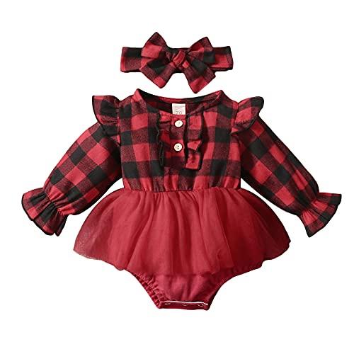 Mameluco de manga larga con volantes y cinta para la cabeza, 2 piezas de ropa de otoño, negro/rojo, 6 mes
