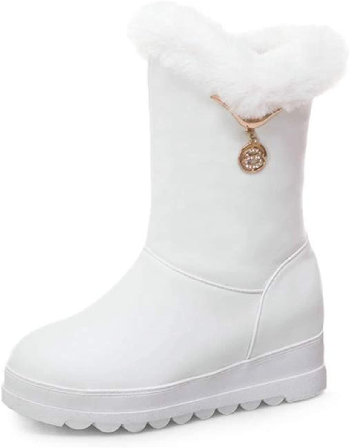 GIY Women Non-Slip Waterproof Ankle Boots Platform Wedges Heel Snow Boots Thick Fur Boots Inner Heightening shoes