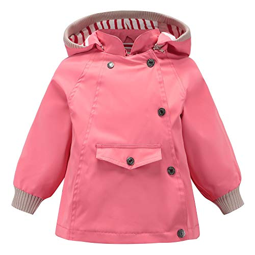 Echinodon Kinder Outdoorjacke Wasserabweisend Winddicht Jacke Mädchen Jungen Funktionsjacke Wanderjacke Regenjacke Rosa 140