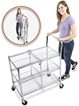 Stand Steady Original Tubstr – Collapsible Wire Cart - 3 Shelf Wire Utility Cart Provides Convenient Transport, Holds 300 Pounds and Folds Up for Storage - Commercial Grade