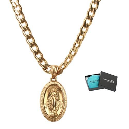 [silver KYASYA]喜平チェーン 奇跡のメダイ ネックレス ゴールド 18k gp 金 ネックレス 聖母 メダイ ペンダント メンズ HIPHOP B系 マイアミキューバンリンク(60cm)