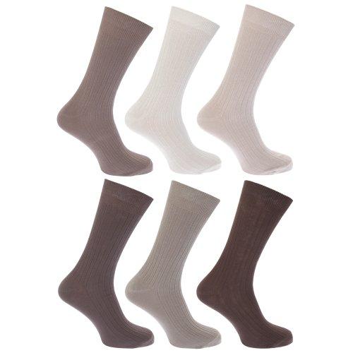 Floso Herren Socken, 100prozent Baumwolle, 6er-Pack (39-45 EUR) (Brauntöne)