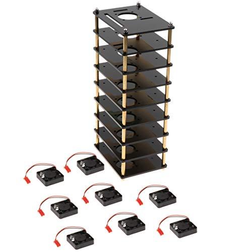 B Blesiya Caja de Caja de 8 Capas con Ventilador para La Serie Raspberry Pi 3b + 3b 2 B 2b +, con Orificios para Disipador de Calor, Negro