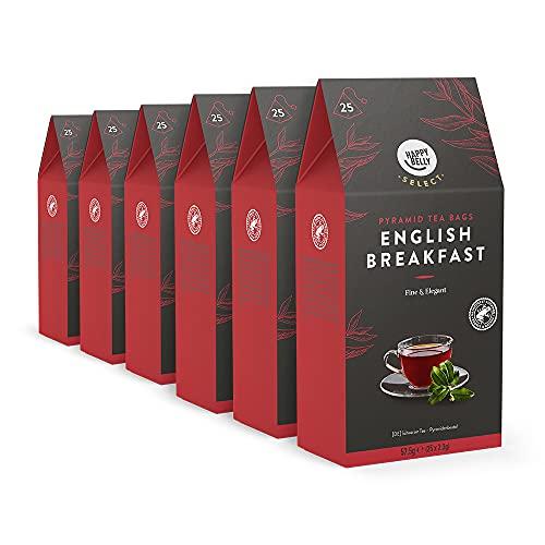 Amazon-Marke: Happy Belly Select Schwarzer Tee English Breakfast, Teebeutel, 6 x 25 Pyramiden-Beutel