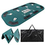Smartxchoices Foldable Poker Table Top 8 Player 71'x 35' Poker Topper Cover Mat w/Chips Tray Cup Holders Carry Case for Texas Hold'em Casino Home Cards Game Nights Oval