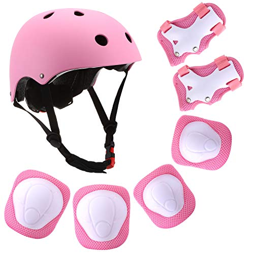 Kids Helmet,Adjustable Bike Helmet with Knee Elbow Wrist Pads CPSC Certified 7 in 1 Protective Sports Gear Set Suitable for Ages 3-8 Years Roller Skating Scooter Cycling Toddler Boys Girls (Pink)