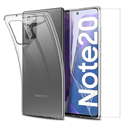Reshias Funda para Samsung Note 20 con Cobertura Completa Protector de Pantalla,Suave Transparente TPU Silicona Protectora Carcasa para Samsung Galaxy Note 20 4G / 5G (6.5 Pulgadas)
