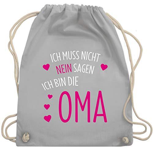 Oma - Ich muss nicht nein sagen ich bin die Oma - Unisize - Hellgrau - gym bag - WM110 - Turnbeutel und Stoffbeutel aus Baumwolle