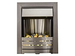 Brushed Stainless Steel Fire Sits flat to the wall Simply plug in--no assembly required Illuminated Pebble bed. 12 cm recess required 1 and 2 kW heat settings with flame effect only setting