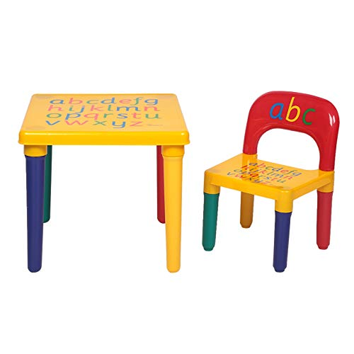 YZG LIFE Kids Table Chair Set with Painted Alphabet Letters on Top Educational Gifts, Colorful Table Chair Set for Toddler Kids
