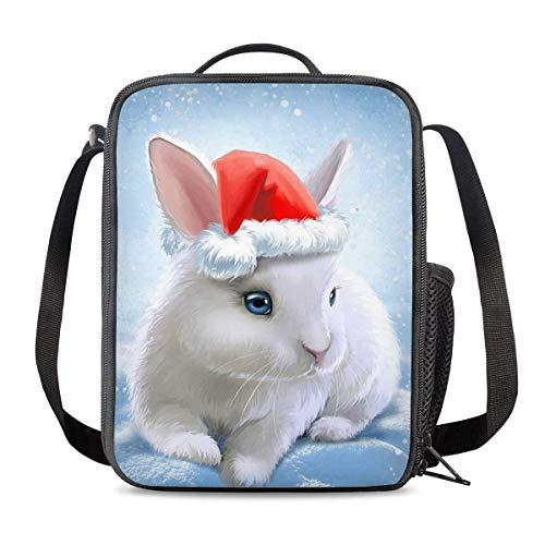 Bolsa Térmica Comida Bolsas de Almuerzo caja porta con Aislamiento Bolso de Mano Navidad Conejo Animal Lindo Impermeable Fiambrera Isotermica Aislado Térmico Organizador del Almuerzo