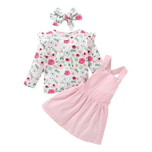 Kleinkind Säugling Kinder Baby Mädchen Blumen T. Hemd Tops Straps Rock Outfits Einstellen