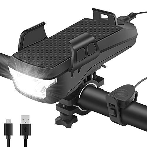 kungfuren Fahrradlicht Set, Multifunktion als Handyhalterung, 4000mAh Akku Powerbank und Fahrradklingel, USB-Ladeanschluss, Wasserdicht und Stoßfest, für das 4\'\' bis 6,3\'\' Handy - StVZO zugelassen