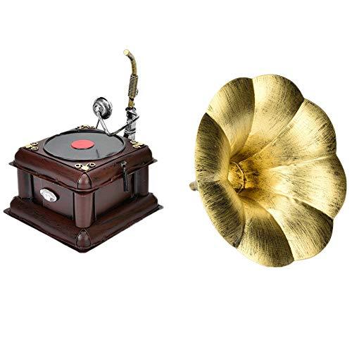 HEEPDD Retro phonograaf model decoratie, metalen vintage platenspeler miniatuur decor ambachtelijke geschenk ornamenten voor home Office Club