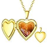 Custom4U Collar Guargapelo Corazón Chapado en Oro Amarillo 18K Joyería Acero Inoxidable 316L para Madre Regalo DIY con Imagen Personalizada Cadena Rolo 20 Pulgadas