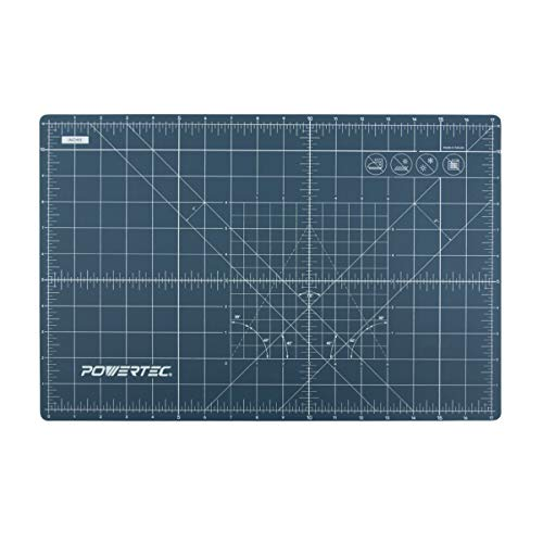 POWERTEC 61001 Self Healing Rotary Cutting Mat with Grid, 12  x 18  x 3mm Triple Layered Surface for Arts and Crafts Woodworking
