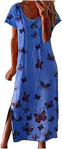 Women's Casual Summer Floral Short Sleeve Crew Neck T Shirt Maxi Dress Beach Sundress Party Tunic Split Swing Dress