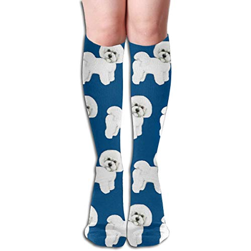 Bichon With Blue Background Unisex Moisture Wicking Athletic Crew Socks,Casual Socks,Short Sock Flexible And Breathable,Soft And Comfortable Fit Very Suitable Running, Walking, Gym Fitness.