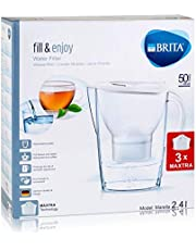 BRITA Marella Water Filter Starter Pack with 3 BRITA MAXTRA+ Cartridges, Water Filter that Helps with the Reduction of Limescale and Chlorine, in White