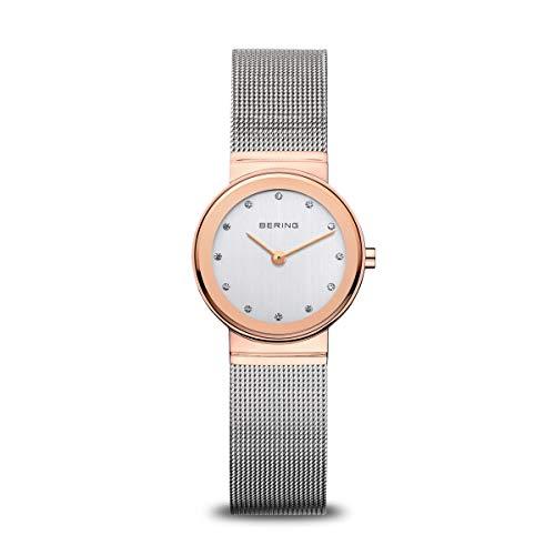 BERING Damen Analog Quarz Classic Collection Armbanduhr mit Edelstahl Armband und Saphirglas 10126-066