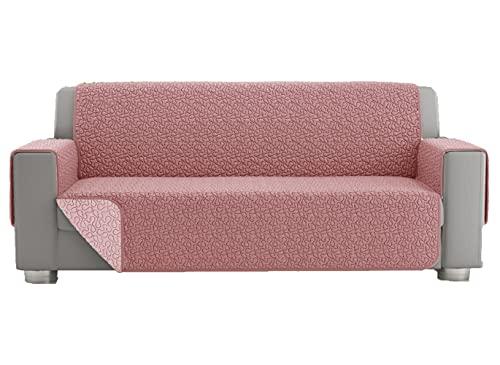 Copridivano 2 posti, telo copridivano 3 posti, copri divano universale trapuntato reversibile, fodera protettiva per divano double face (2 posti, Rosa)