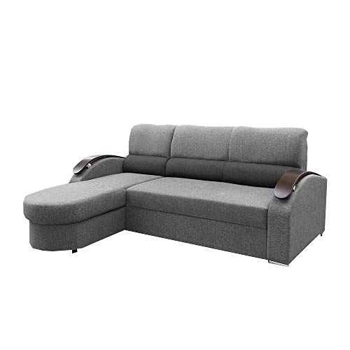 MOEBLO Ecksofa mit Schlaffunktion mit Bettkasten Sofa Couch L-Form Polstergarnitur Wohnlandschaft Polstersofa mit Ottomane Couchgranitur - MEGI (Hellgrau +Dunkelgrau, Ecksofa Links)