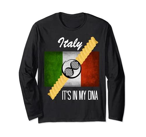 Italia DNA Rotini Cavatappi Spirale Pasta Strand Bandiera Italiana Maglia a Manica