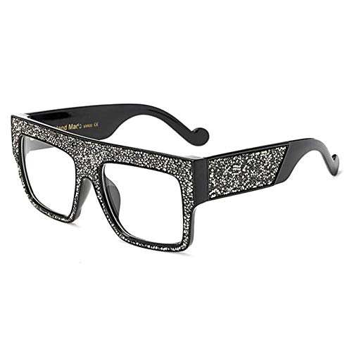 ZZOW Gafas De Sol Cuadradas De Gran Tamaño con Decoración De Cristal para Mujer, Gafas De Sol con Bisagra De Metal Reforzado De Lujo para Hombre, Gafas De Sol Transparentes Uv400