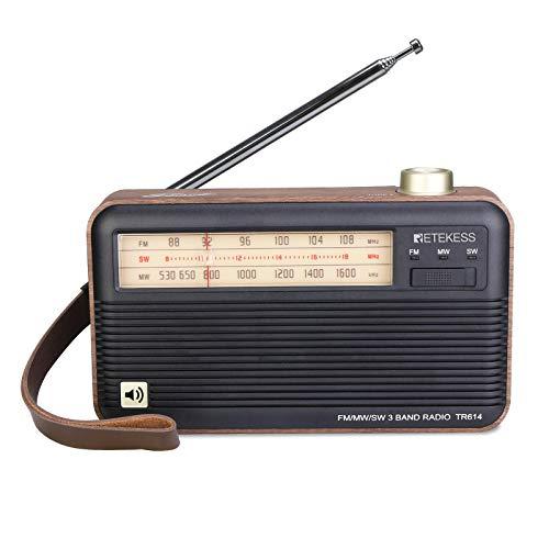 Retekess TR614 Retro Shortwave Radio with Best Reception, Wood Radios Portable AM FM, Analog Radio Vintage Powered by Battery, Easy Used for Elder