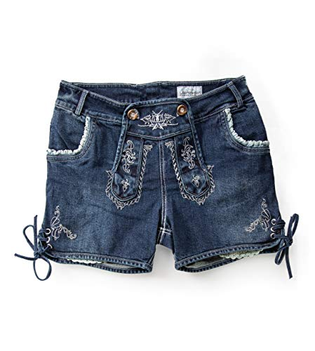 Trachtenjeans Hotpants Eni - Damen Lederhose Jeans Stretch - Schöneberger Lederhosen Oktoberfest Eni (38)