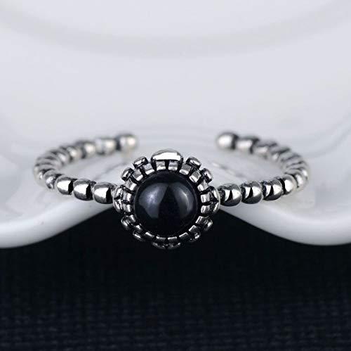 MENGzhuHSA Moda 925 Sterling Silver Vintage Moda Doce Meses Anillo de Plata de Piedra Nacida para Mujeres Accesorios de niña (Gem Color : June, Ring Size : Resizable)