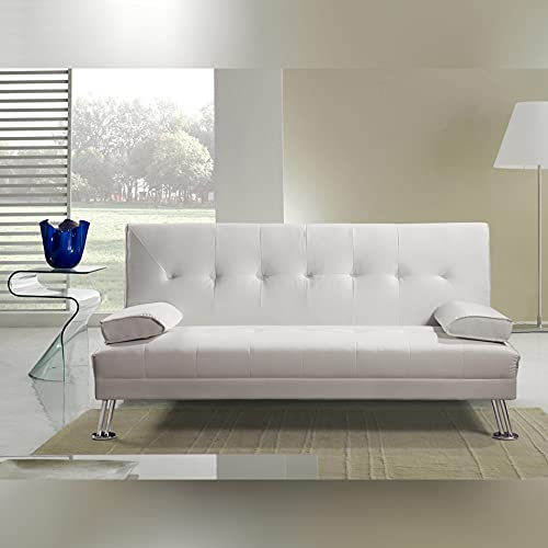 Gstore Divano Letto RECLINABILE Ecopelle Ufficio - Salotto Colore Bianco L 187, P 88, H 88, Hseduta 40 JS003 Bianco