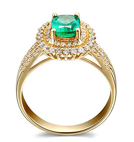 Aeici Anillos Boda Oro amarillo 18k, Alianzas Mujer De Oro Esmeralda Diamante 0.75ct, Cuadrado, Talla 6,75