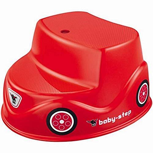 BIG Baby-Step - rutschfester roter Kinder-Tritt-Hocker, Tritt-Schemel aus Kunststoff mit 2 Stufen für Babys & Kleinkinder ab 18 Mo. und älter, bis 50 kg Tragkraft