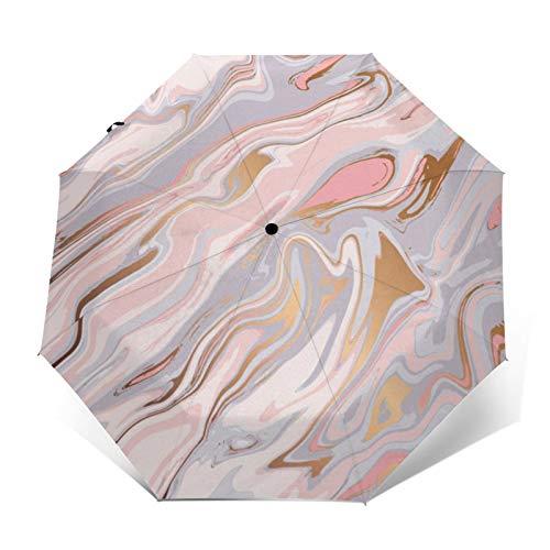 ピンクの液体大理石パターン 自動開閉式折りたたみ傘 ワンタッチ 折りたたみ傘 耐強風撥水 大きいサイズ 雨傘 日傘 持ち運びが簡単 おしゃれ 個性 晴雨兼用