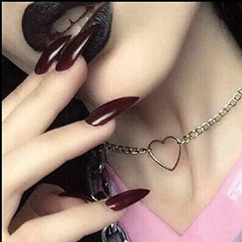 Brishow Künstliche Nägel, Sarg, lange künstliche Nägel, Ballerina-rot, falsche Nägel, volle Abdeckung, 24 Stück, für Damen und Mädchen