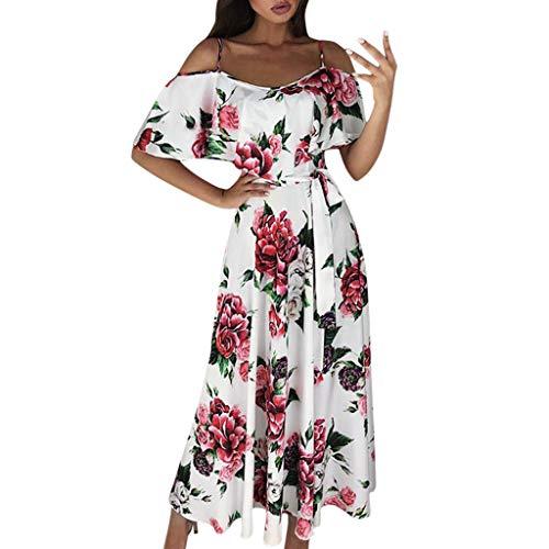 SMILEQ Vestido de Las Mujeres de Moda de Manga Corta con Estampado Floral Falda de Tiras cóctel Vestido de Baile Vestido de Tirantes (L, Blanco)